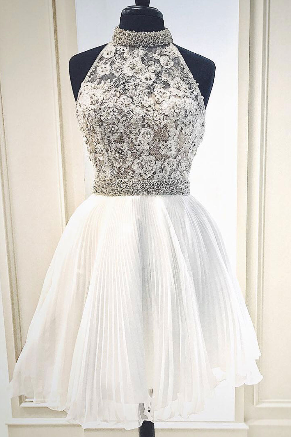 white cute lace short prom dress white homecoming dress