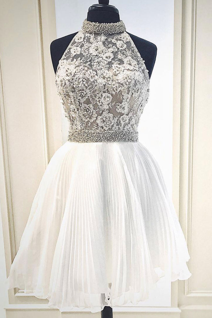 White cute lace short prom dress, white homecoming dress
