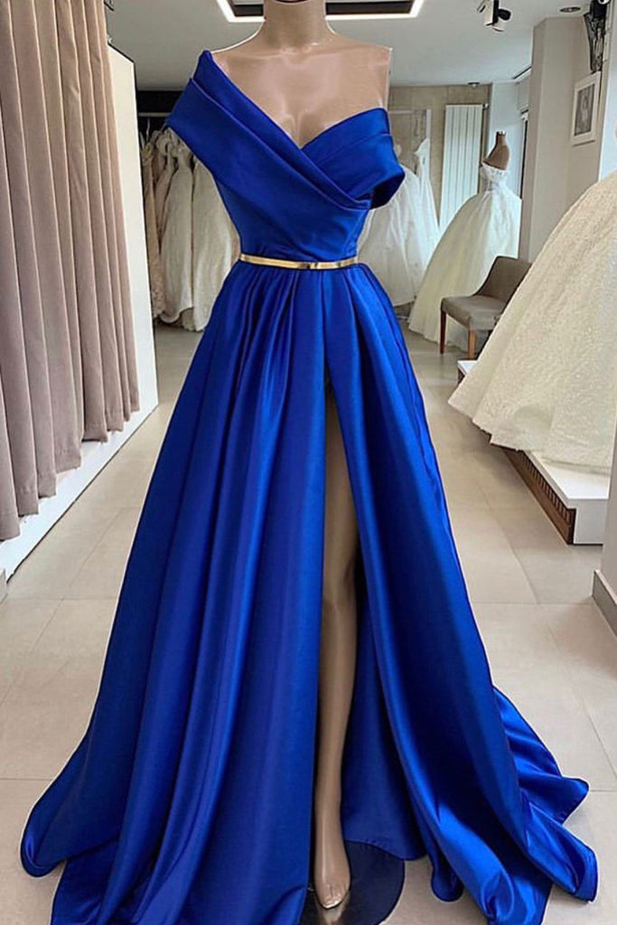 Blue satin long prom dress, blue long evening dress