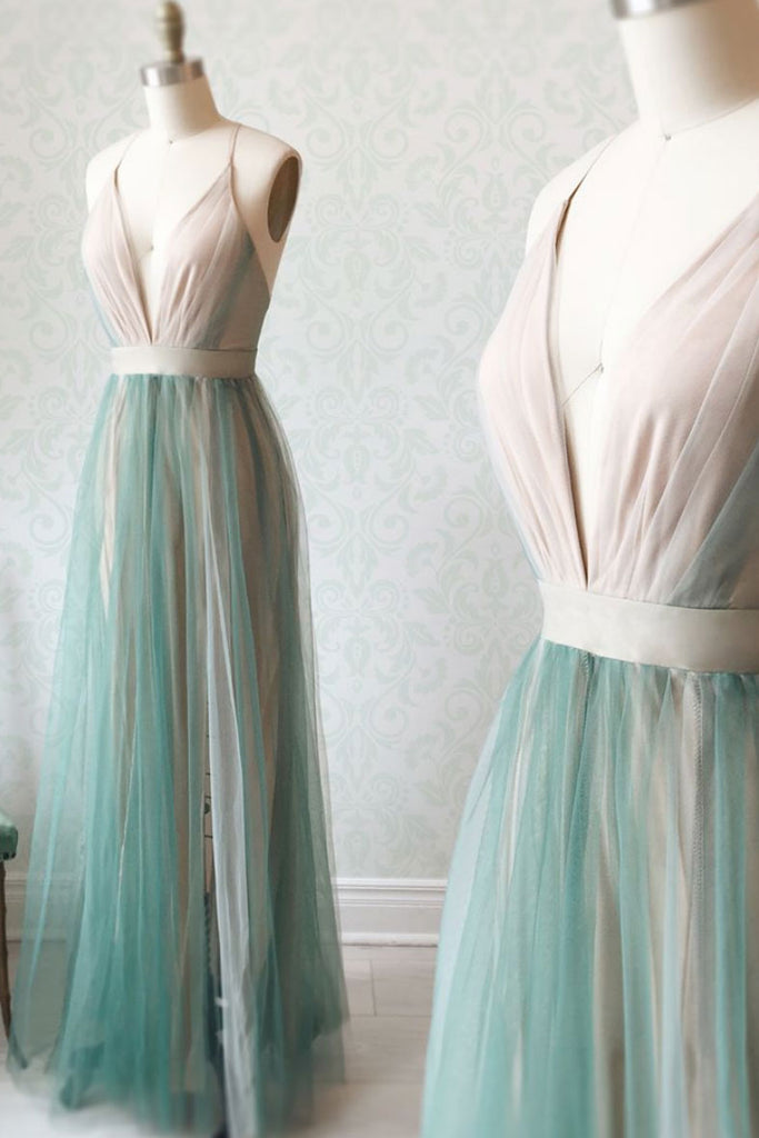 Simple green tulle long prom dress, green tulle evening dress