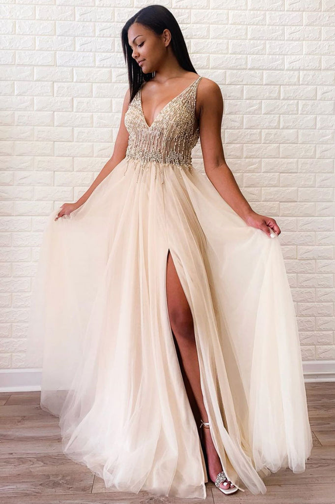 Champagne v neck tulle beads long prom dress tulle evening dress