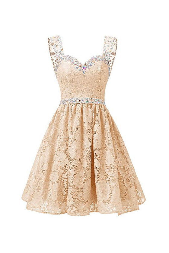Champagne lace short prom dress, champagne lace homecoming dress