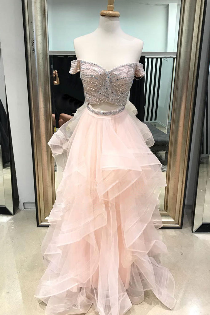 Pink two pieces beads tulle long prom dress, pink evening dress