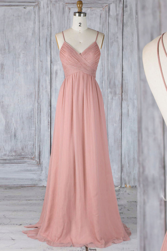 Pink chiffon lace long prom dress pink lace bridesmaid dress