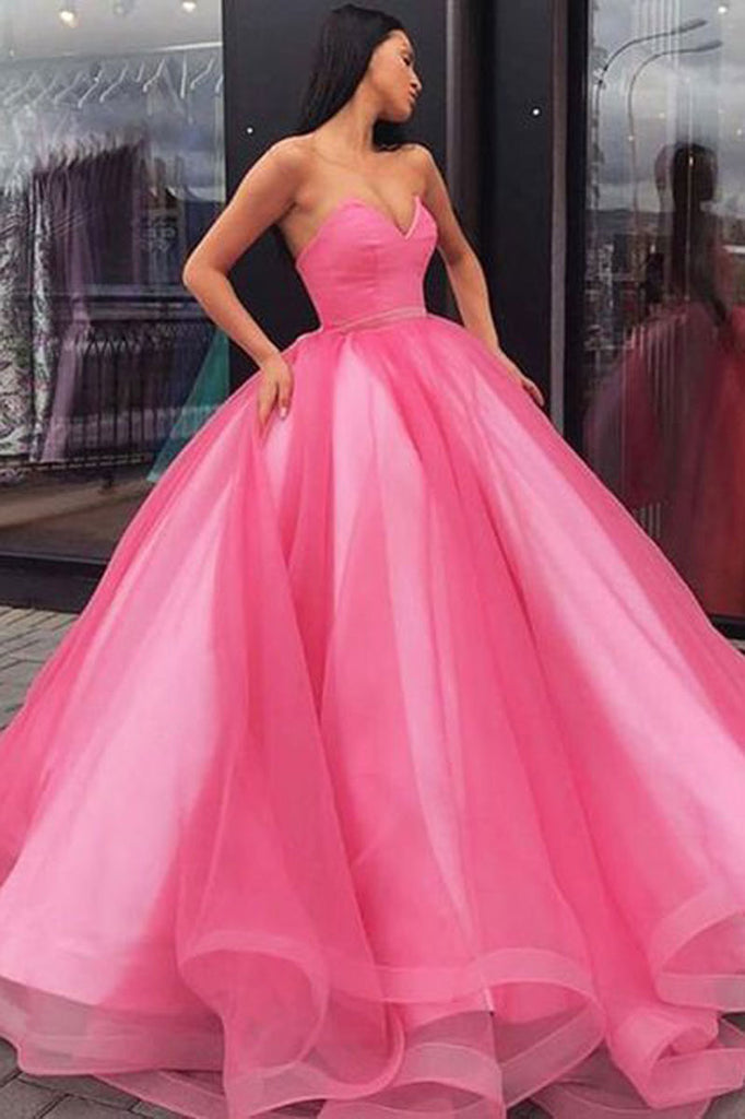 Pink sweetheart tulle long prom dress pink tulle evening dress