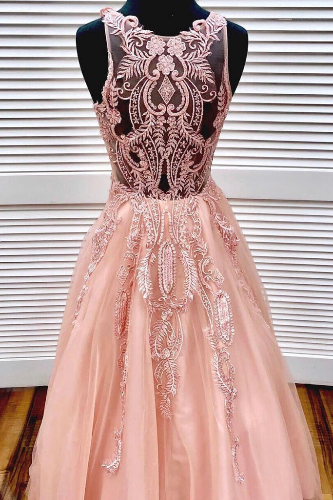 Unique pink round neck tulle lace long prom dress, pink tulle formal dress