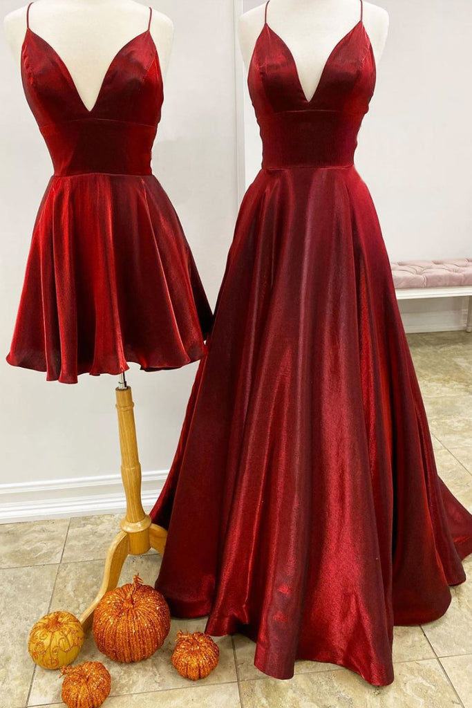 Simple red v neck satin long prom dress simple evening dress