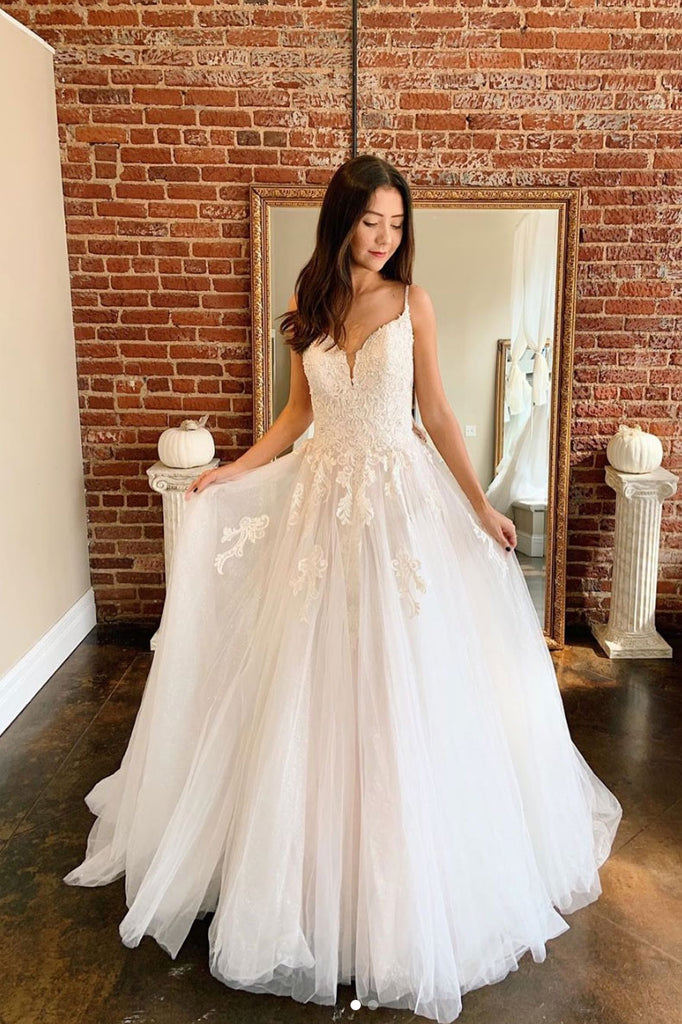 Light champagne A-line tulle lace long prom dress tulle lace formal dress