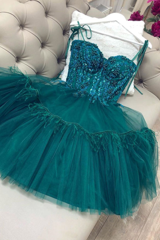 Green tulle lace short prom dress green lace cocktail dress