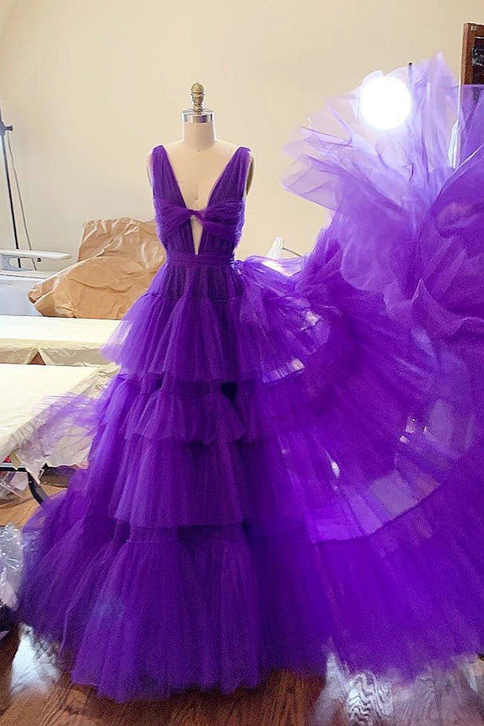 Purple tulle long prom dress, purple tulle evening dress