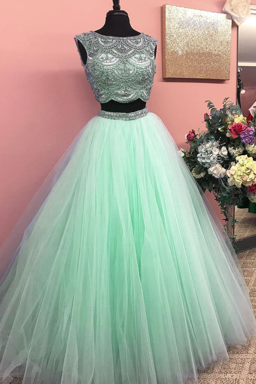 Green round neck two pieces tulle beads long prom dress, green ...
