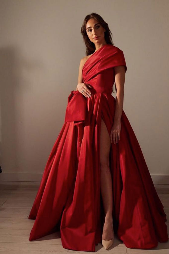 Red satin long prom dress, simple satin evening dress