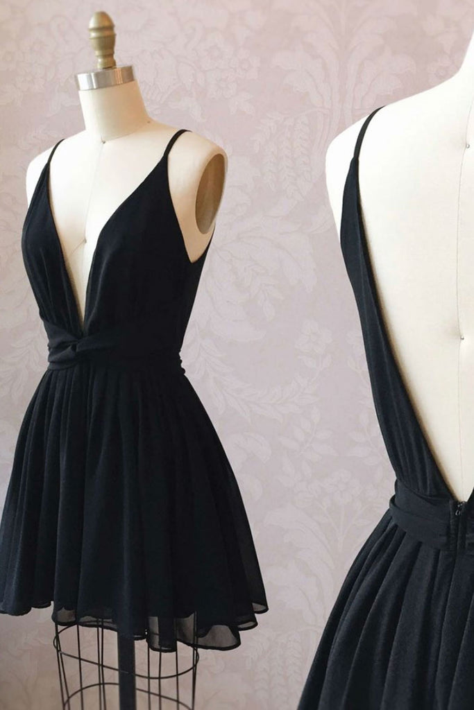 Black v neck chiffon short prom dress, black homecoming dress