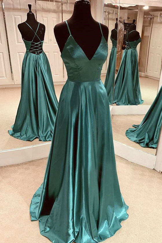 Green simple satin long prom dress green formal dress