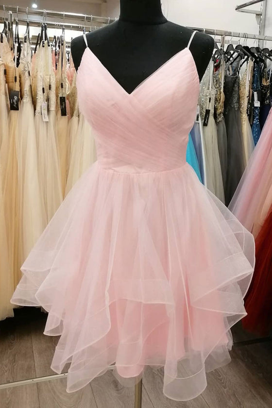Simple pink tulle short prom dress pink cocktail dress