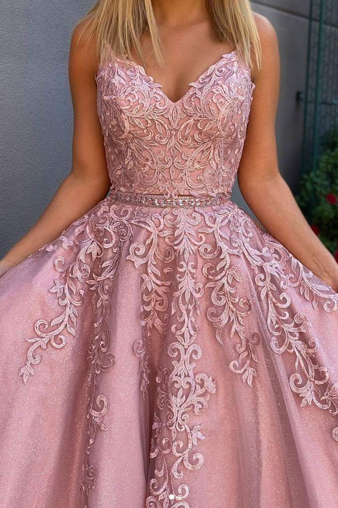 Pink sweetheart tulle lace long prom dress lace formal dress
