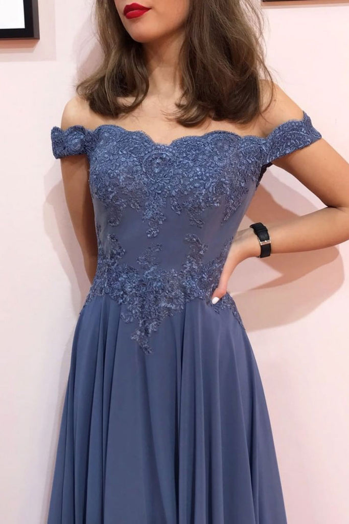 Blue off shoulder chiffon lace long prom dress blue formal dress