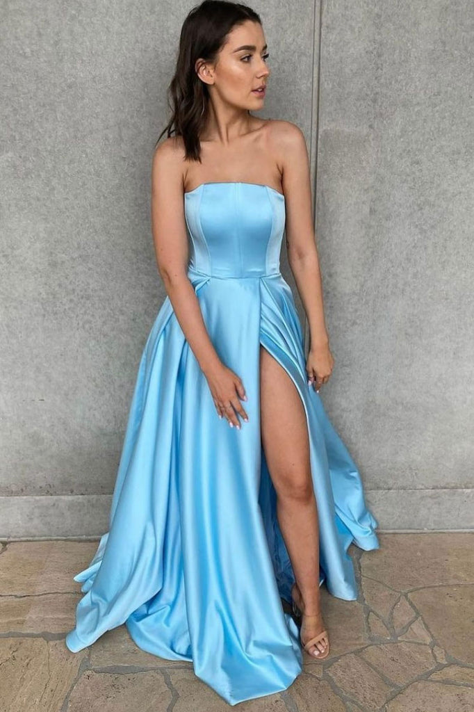 Simple blue satin long prom dress blue bridesmaid dress