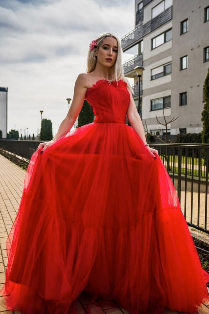 Red tulle long prom dress red tulle formal dress
