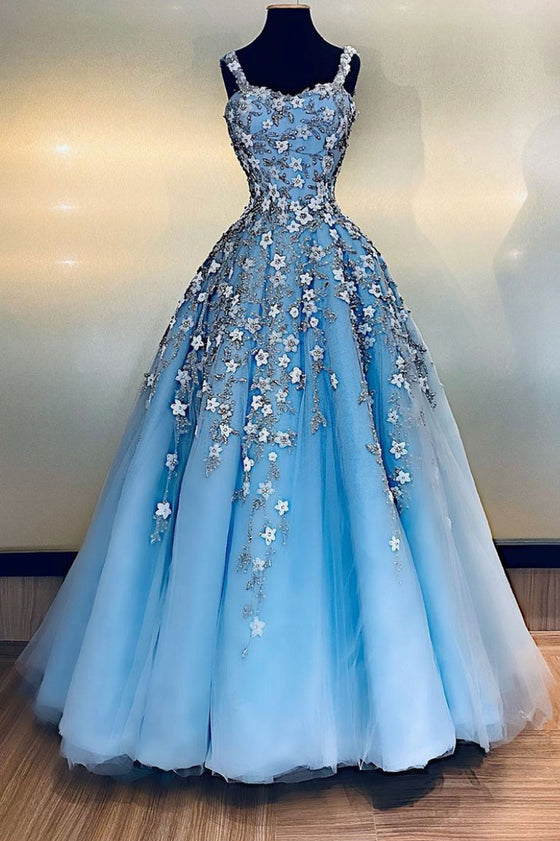 Blue sweetheart tulle lace long prom dress blue formal dress