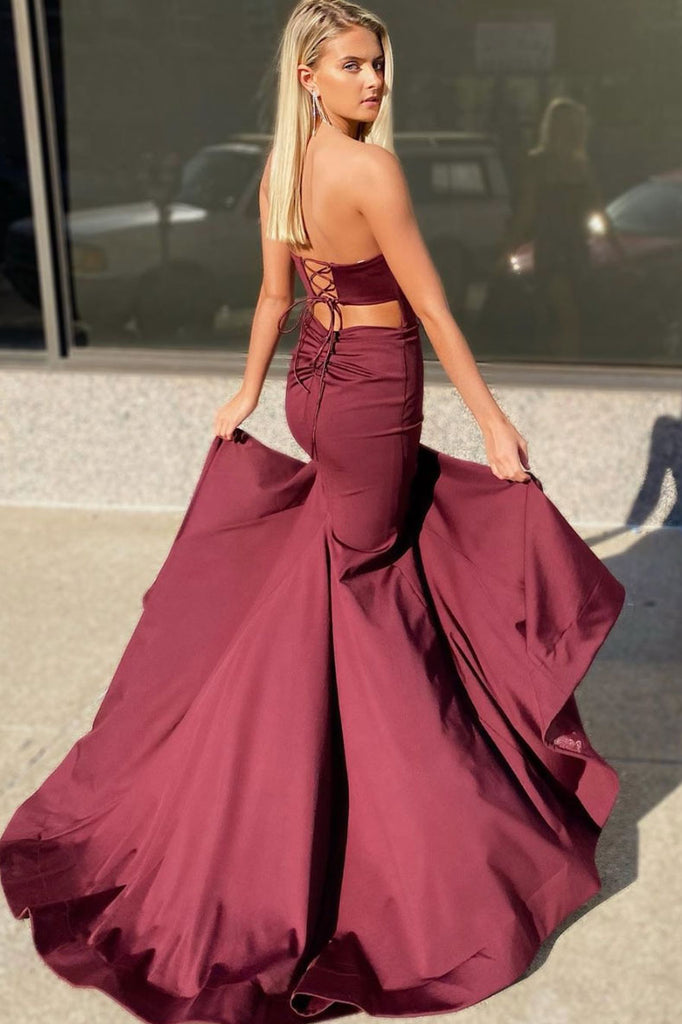Unique burgundy satin long prom dress burgundy formal dress