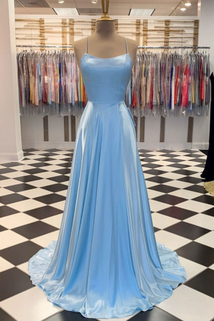 Simple blue satin long prom dress blue long evening dress