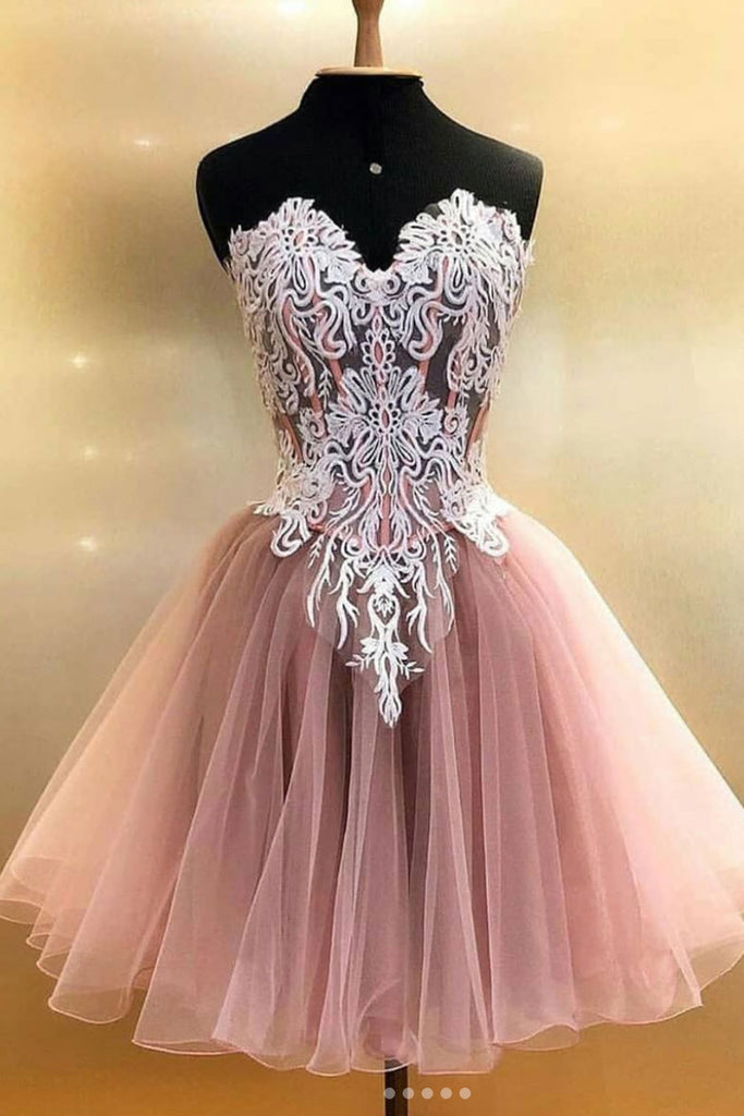 Cute tulle lace short prom dress, cute homecoming dress