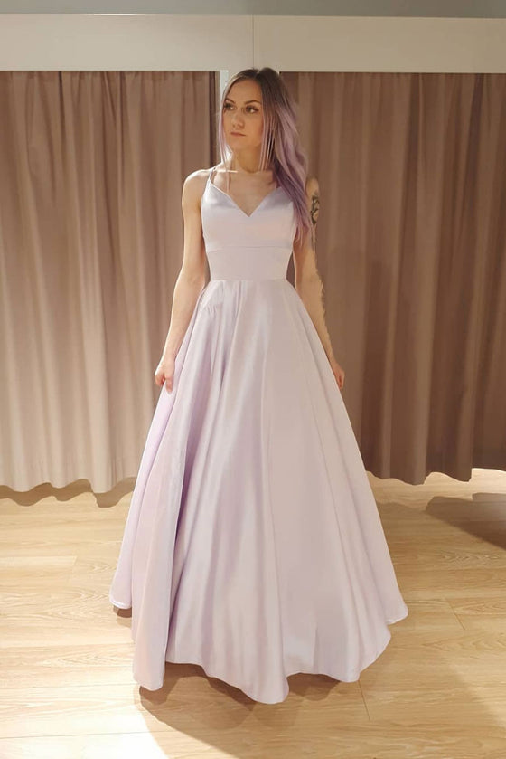 Simple light purple satin long prom dress purple formal dress