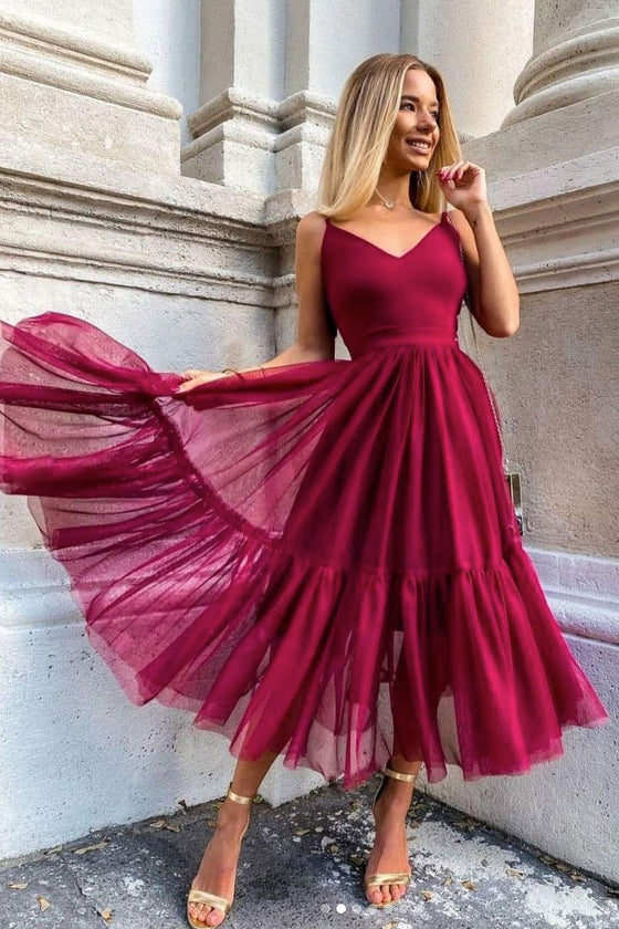 Simple burgundy v neck tulle prom dress burgundy evening dress