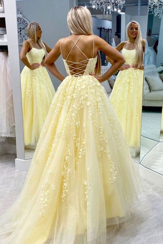 Yellow tulle lace long prom dress yellow tulle lace formal dress