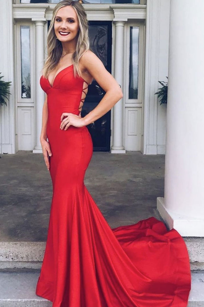 Simple red satin mermaid backless long prom dress red evening dress