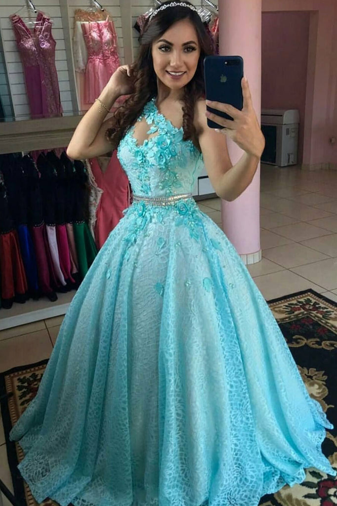 Blue tulle lace one shoulder long prom dress blue evening dress