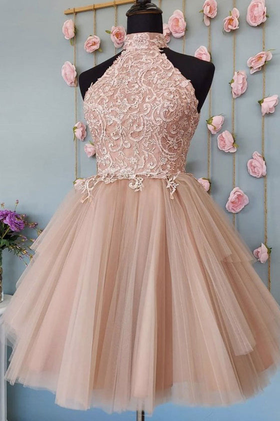 Pink tulle lace short prom dress lace homecoming dress