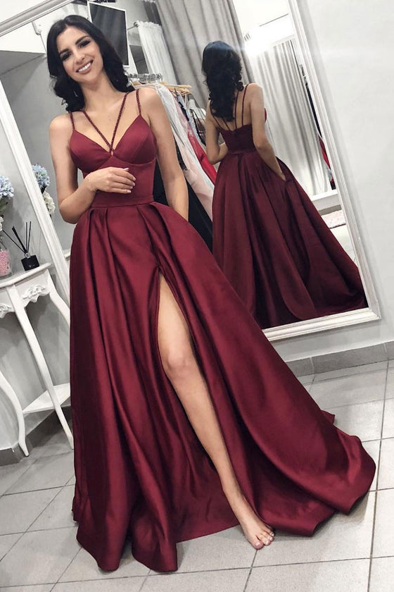 Simple burgundy satin long prom dress burgundy formal dress