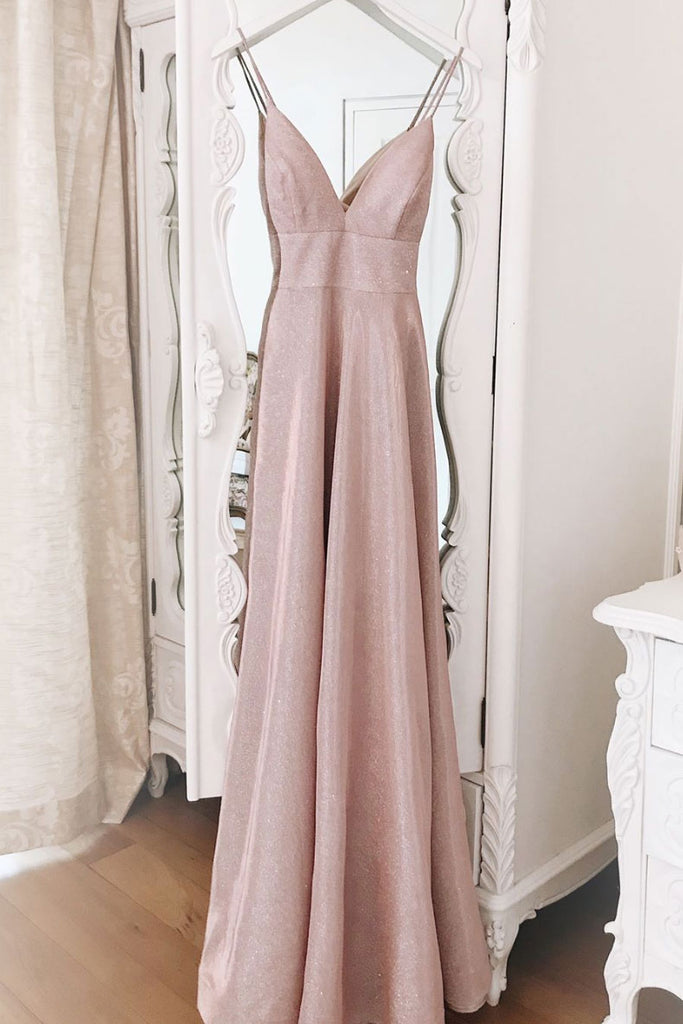 Simple v neck sequin long prom dress pink evening dress