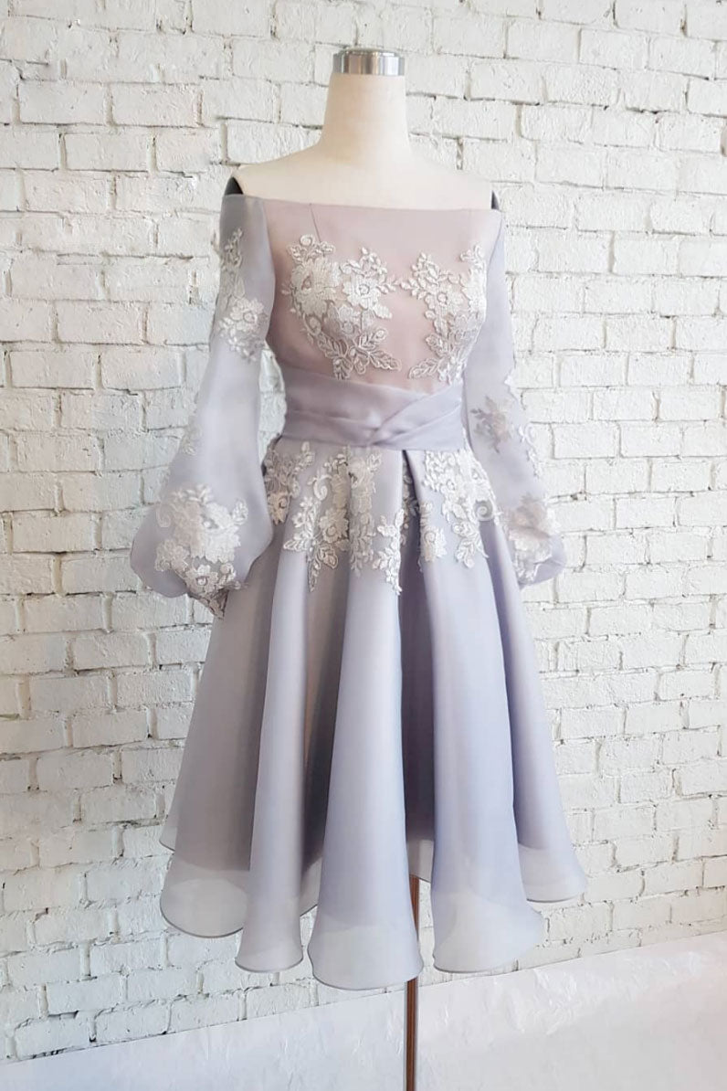 Cute chiffon lace short prom dress, gray homecoming dress