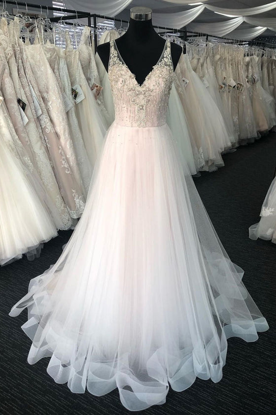 White v neck tulle beads long prom dress white tulle evening dress