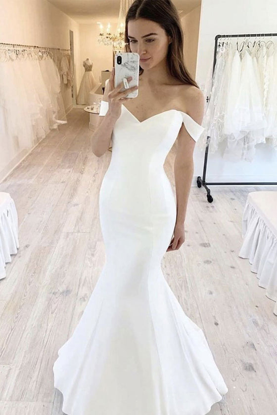 Simple white satin mermaid long prom dress white evening dress