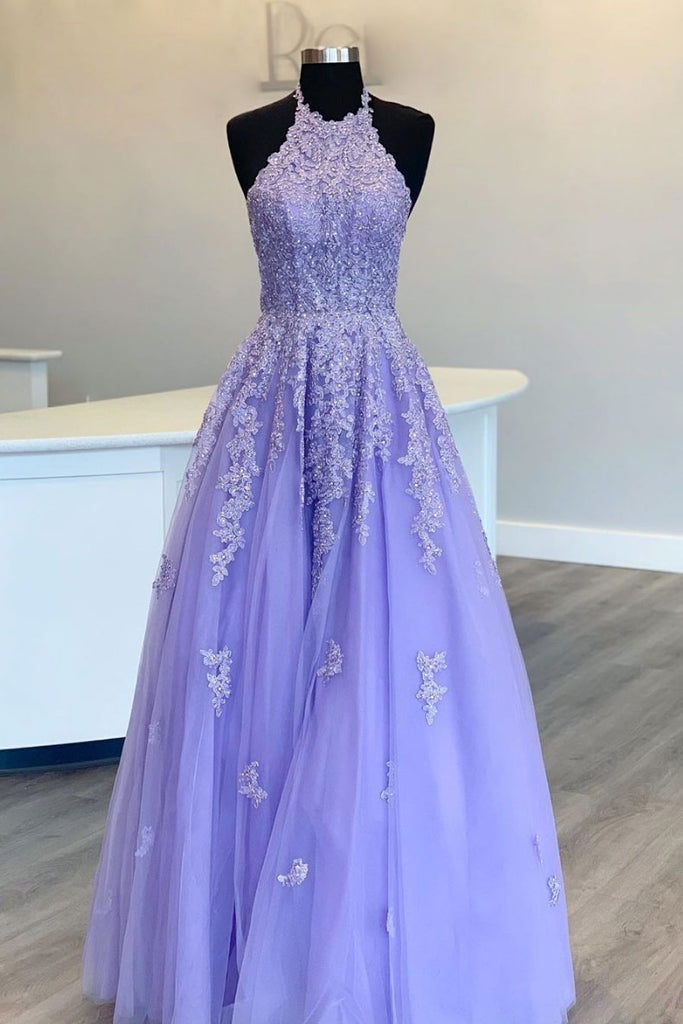 Purple tulle high neck lace long prom dress purple evening dress