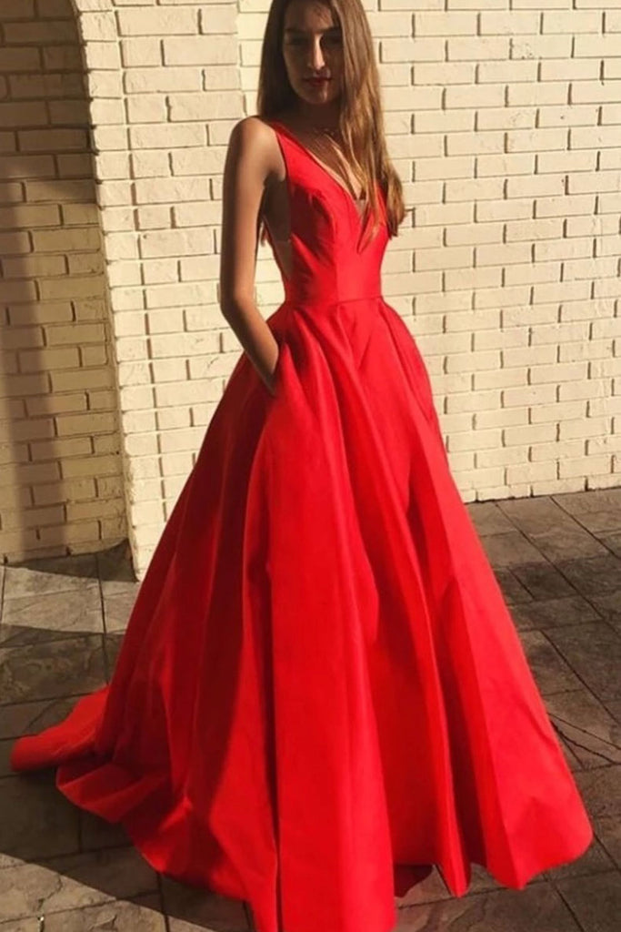 Simple red v neck satin long prom dress red formal dress