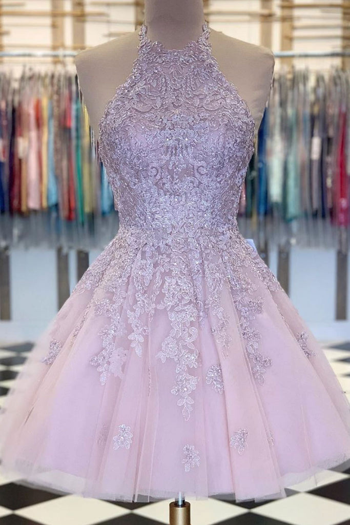 Pink high neck tulle lace short prom dress, pink evening dress