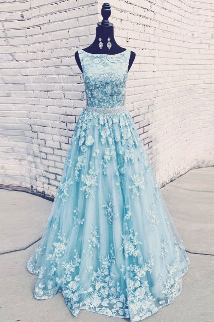 Blue round neck tulle lace long prom dress blue evening dress
