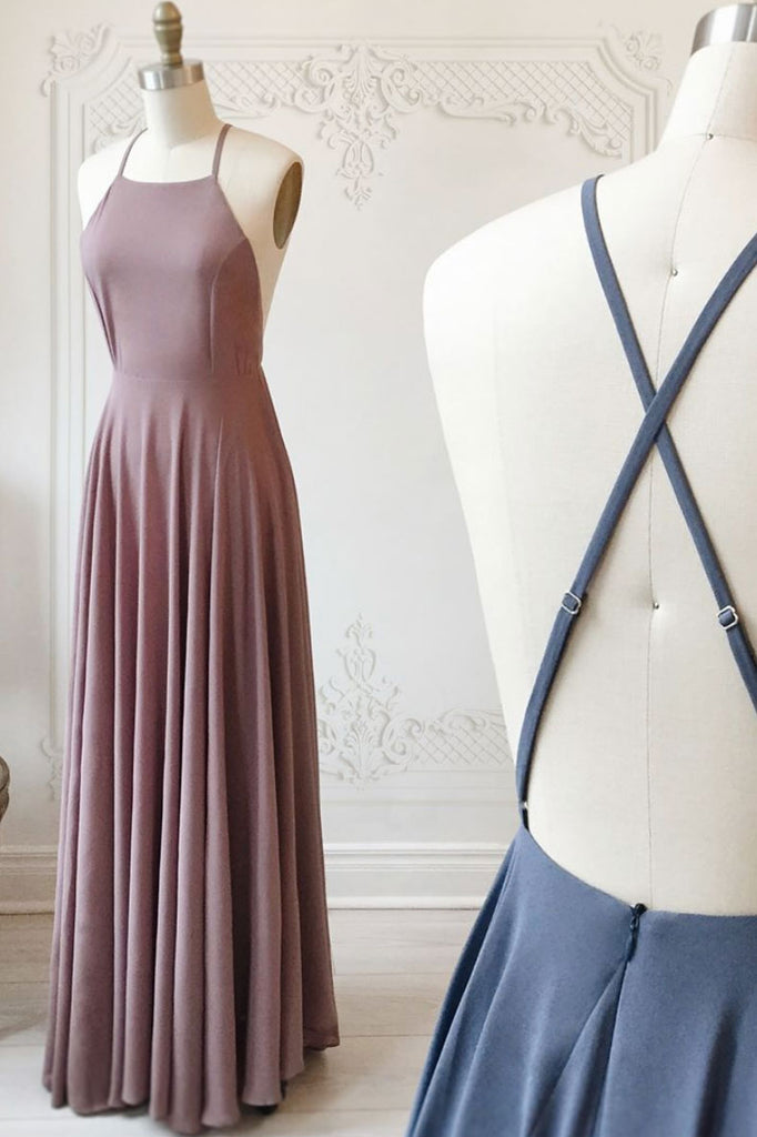 Simple chiffon backless long prom dress, evening dress