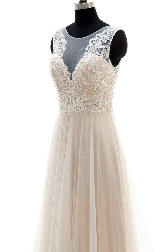 Champagne round neck tulle lace long prom dress, champagne wedding dress