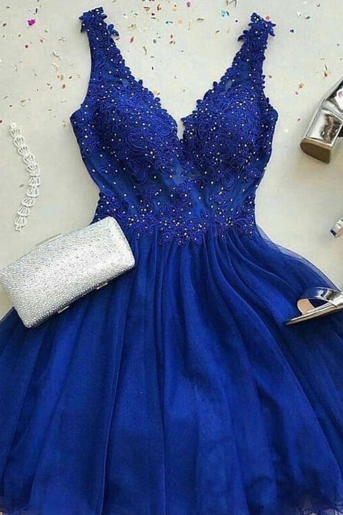 Blue v neck tulle lace short prom dress, blue bridesmaid dress