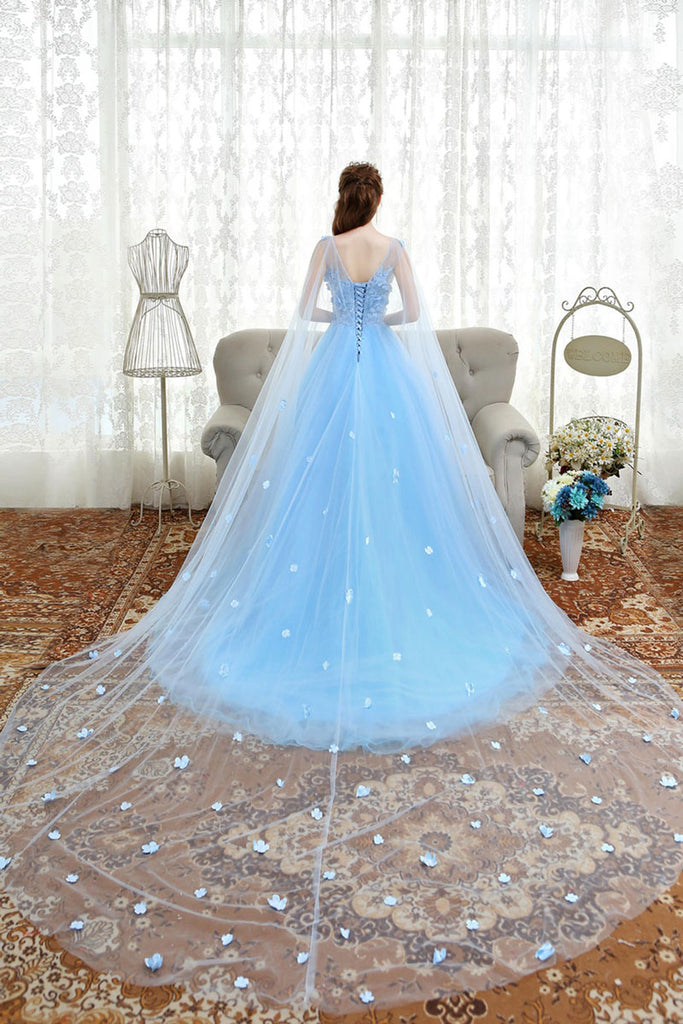 Blue lace applique tulle long prom dress, blue evening dress