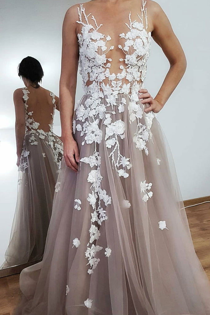 Gray round neck lace tulle long prom dress, gray tulle evening dress