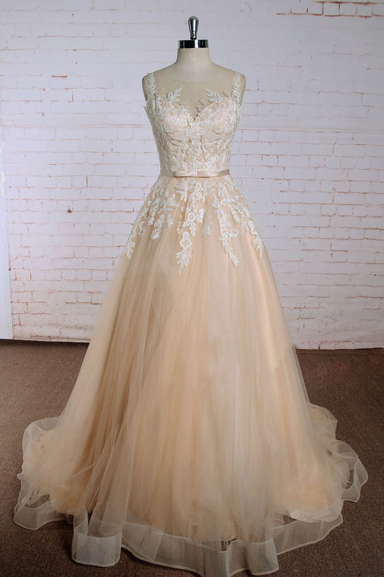 Champagne round neck lace applique tulle long prom dress, tulle wedding dress