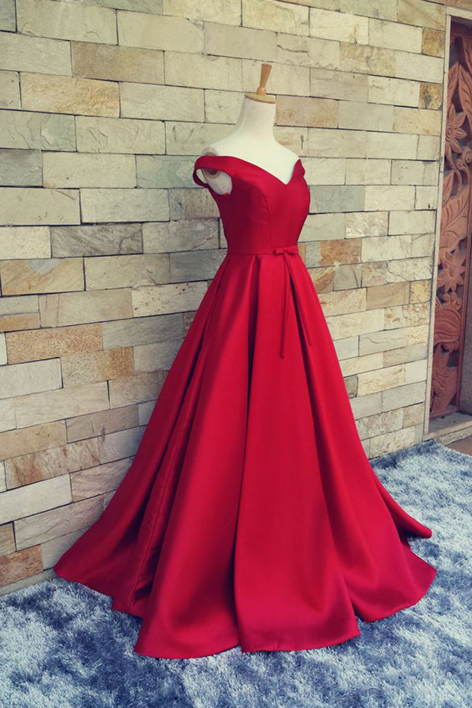 Simple red v neck off shoulder long prom dress, red evening dress