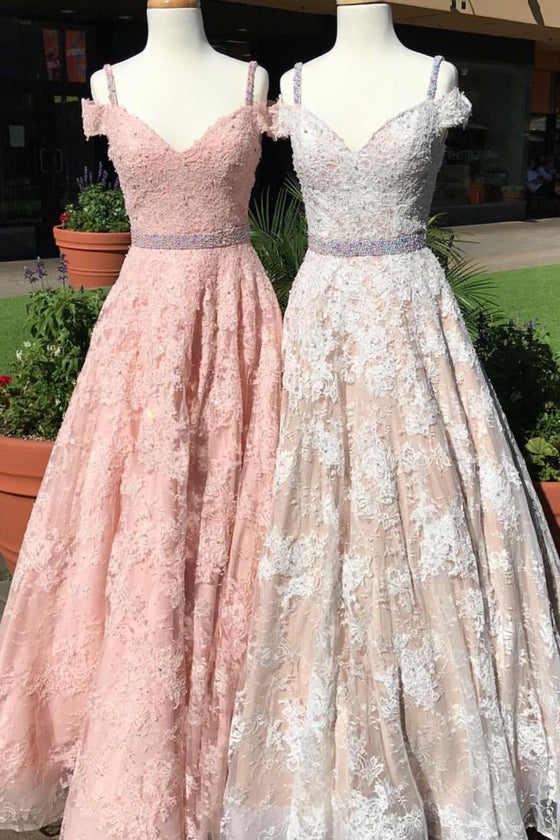 A line v neck off shoulder lace long prom dress, lace evening dress